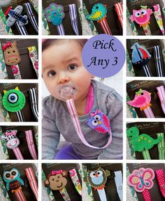 Pick 3 Ribbon Clips, Baby Girl or Boy Pacifier Clip, Pacifier Holder, Owl, Monkey, Elephant, Bird, Butterfly, Monster, Bear, Airplane