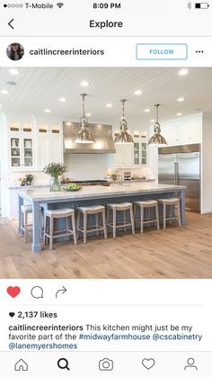 trendy ideas kitchen island with seating at end long - Kitchen Decor - Island Kitchen Ideas Kitchen Redo, Kitchen Living, New Kitchen, Island Kitchen, Kitchen Island Seating, Kitchen Cabinets, Kitchen Island Not Centered, Kitchen Counters, Long Kitchen Islands