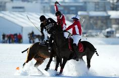 ST MORITZ, SWITZERLAND - JANUARY 25: Marcos Araya of Argentina and team Ralph Lauren is challenged by Max Charlton and Chris Hyde of Great Britain and team Cartier during the Polo World Cup on Snow match between team Ralph Lauren and team Cartier on the frozen Lake St Moritz on January 25, 2013 in St Moritz, Switzerland. (Photo by Lars Baron/Bongarts/Getty Images) Lars Baron / Bongarts/Getty Images