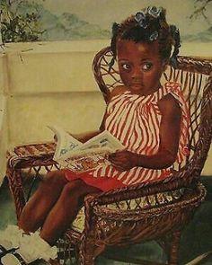 Fairy tale time by merryle jaye 17 x 13 black art print/poster unframed Black Love Art, Black Girl Art, Art Girl, Black Art Painting, Black Artwork, African American Artwork, African Art, Reading Art, Children Reading
