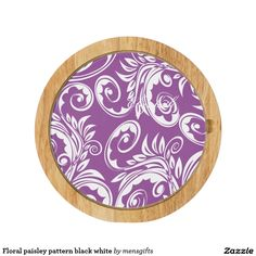 Floral paisley pattern black white cheese platter