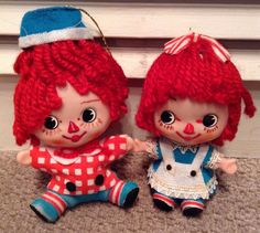 vintage flocked Raggedy Ann and Andy Christmas tree ornaments