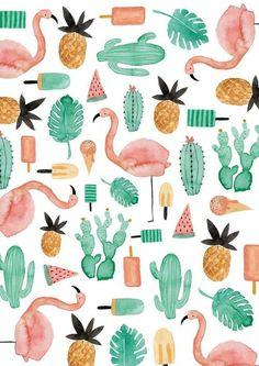Imagen de wallpaper, cactus, and flamingo