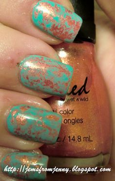 paint your nails with a base color and let them dry completely. Then come back and paint a layer of another color on top, and before it dries, you dab pieces of waddedup saran wrap on top lightly, then top coat and your done!