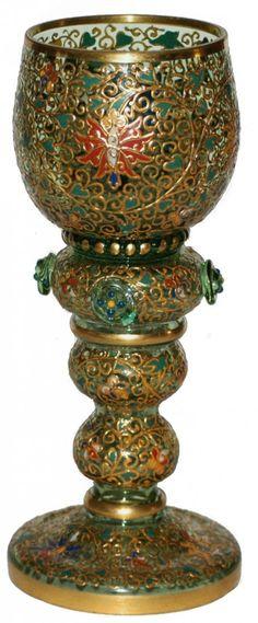 Moser Green Gilded Enamel Floral Goblet : Lot 430