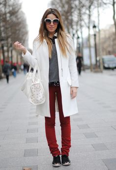 White coat at Champs Elysées #outfit , Zara in Coats, G.M.Alessandro Simoni in Pants, Buffalo (by Spartoo) in Sneakers, Blanco in Bags, Zara in Glasses / Sunglasses