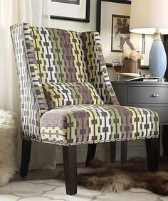 Another great find on #zulily! Geo Chain Emporia Wingback Accent Chair #zulilyfinds