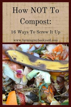 Garden Composting How NOT to Compost: 16 Ways To Screw It Up - Farming My Backyard - Everyone says compost is so easy, but some of us still manage to screw it up. Here's how NOT to compost, with sixteen proven ways to fail. Compost Soil, Composting At Home, Garden Compost, Worm Composting, Hydroponic Gardening, Garden Soil, Hydroponics, Organic Gardening, How To Compost