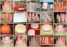 How to make a beautiful Castle cake… A great and very descriptive step by step tutorial… By: Magical kingdoms.com Find full tutorial here↓ http://www.magicalkingdoms.com/blog/2011/09/21/how-to-make-a-disney-castle-birthday-cake/