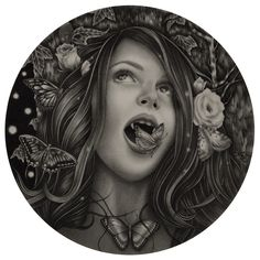 hifructosemag:    Italian artist Alessia Iannetti has a unique fascination for what is mysterious and unknown which she carries into her dark and romantic drawings. Previously featured on our blog her works are primarily drawn in graphite with painted touches of bright colors and golden hues. Her subjects of natural beauties and young children are in constant touch with their surroundings enveloped by flowering shrubs hummingbirds and butterflies. Some say that looking at Iannettis art feels…