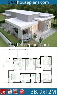 House Plans 9x12 with 3 Bedrooms - Sam House Plans