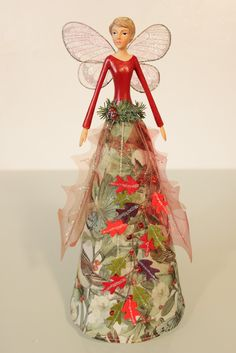 Large resin/velvet Christmas Angel - Tree topper - 30 cm tall,  from Gisela Graham - A striking finishing touch to any Christmas Tree   Play Learn Grow