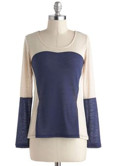 The Cutting Edge of Casual Top - Multi, Blue, Tan / Cream, Solid, Casual, Long Sleeve, Scoop, Mid-length