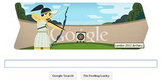 London 2012 archery  Google put a special doodle to celebrate London 2012 archery.    If we click on the London 2012 archery Google Doodle you will be taken to the latest news about London 2012 archery.