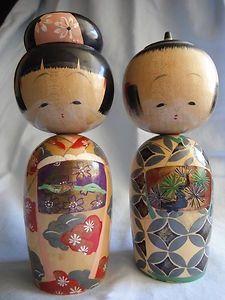 Kokeshi dolls - in old style kimonos.
