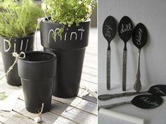 Blackboard herb planters. More chalkboard ideas at http://www.myhomerocks.com/2012/04/chalkboard-paint-ideas-for-a-blast-of-blackboard-decor/ #gardening
