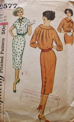 1950s Misses One Piece Dress with by BluetreeSewingStudio on Etsy, $10.00