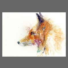 JEN BUCKLEY Original wise old FOX Watercolour PAINTING signed large A3