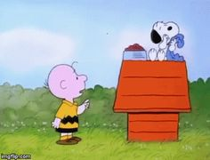 Snoopy having dinner with Linus blanket. | image tagged in gifs | made w/ Imgflip video-to-gif maker