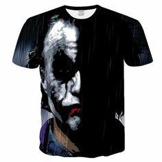 BIANYILONG New half face Joker t shirt funny character joker Brand clothing design t-shirt summer style tees tops print 3d T Shirts, Cheap T Shirts, Casual T Shirts, Men Casual, Rock Style Clothing, Joker Brand, Online Shopping, Quality T Shirts, Fashion Outfits