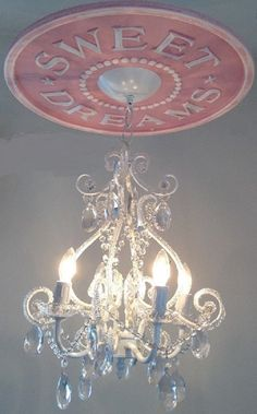 Nursery White Chandelier with Sweet Dreams Ceiling by MarieRicci