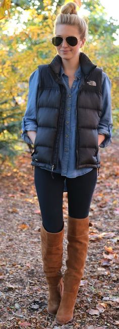 Cute way to wear a puffer vest and be comfy but fashionable at the same time