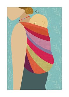 Babywearing Art Print Back Carry Baby by NorthernSunArtPrints