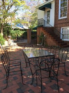 Brick Paver Patio Surfaced With Pathway Full Range Pavers Looks Great With  Wrought Iron Furniture.