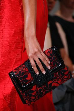 Embellished red details at Oscar de la Renta Spring 2016