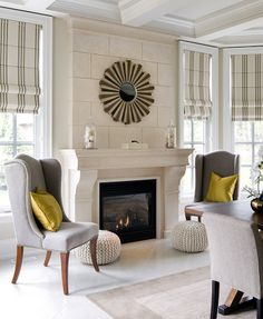 Fireplace Designs | Jane Lockhart Interior Design. love how the fireplace is finished all the way up to the ceiling.