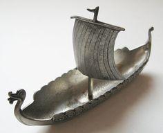 Vintage Pewter Miniature Viking Ship Norway by TheHiddenGrove