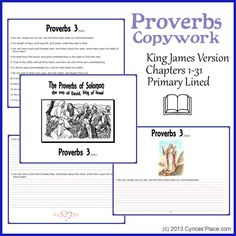 the whole book of Proverbs Copywork - kjv free and available in cursive or print