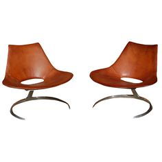Pair of Scimitar Chairs Designed by Jörgen Kastholm and Preben Fabricius for Ivan Schlecter, Denmark. 1963
