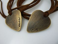 guitar pick, necklace, name necklace, personalized jewelry, pendant, leather band, boyfriend girlfriend jewelry