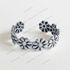 14K White Gp 925 Silver Round Sim Diamond New Fashion Daisy Adjustable Toe Ring  #Unknown #ToeRing