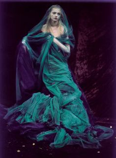"""Enchanted Gardens"" ~ Sasha Pivovarova by Paolo Roversi for Vogue India, October 2007"