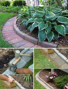 Use Cement or Stone Bricks to Edge Your Garden #gardening #gardenedging