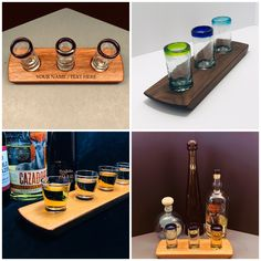 We have flights/serving trays in Walnut, Mahogany, and Oak with traditional or Mexican handblown shot glasses. Personalize for a one of a kind gift! #tequila #tequilashots #bar #giftideas #gifts #retirementgift #homebar #barware #donjulio #cazadores #etsy #giftsformen #mancave #servingtray #giftsforhim #giftsforher #shots #happyhour #agave #spirits #distillery #tequilatime #giftforman #tequilabar #tequilalover #restaurant #tequilatuesday #housewarming #mexicanrestaurant #prwoodworks Personalised Whisky, Personalised Gifts For Him, Tequila Bar, Tequila Shots, Whisky Tasting, Shot Glass Set, Serving Trays, Retirement Gifts, Hostess Gifts