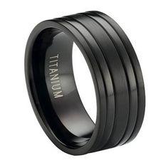 Black Titanium Men's Wedding Ring, Modern Bands   8mm