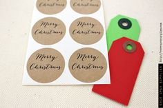 Merry Christmas round stickers / Merry Christmas mason jar labels |  #holidaygiftwrap