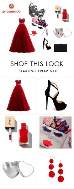 """Snapmade"" by defne-966 ❤ liked on Polyvore featuring Masquerade, Christian Louboutin, BaubleBar and Chesca"