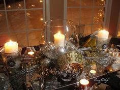 January tablescape idea - minus the new year's eve hat. From Dining Delight blogspot.