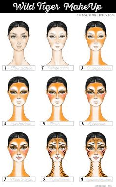 tiger costume makeup - Best Jeans That Make Your Butt Look Good Animal Makeup, Cat Makeup, Halloween Looks, Halloween Costumes, Diy Halloween, Tinta Facial, Tiger Face Paints, Makeup Step By Step, Face Painting Designs
