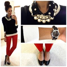 Just looks trendy! I would never have put together... I love bright solid colored skinny pants. Jewelry is great... Awesome