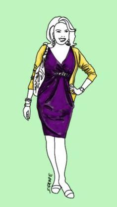 Die Raffung und der schmucke Akzent im Unterbrustbereich kaschieren ein kleines Bäuchlein. Die gelbe Jacke umrahmt und streckt den Oberkörper. Fashion Advice, Fashion Outfits, Mode Style, Capsule Wardrobe, Plus Size Fashion, Princess Zelda, Style Inspiration, Lifestyle, Purple