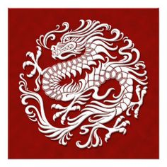 Cartoon Chinese Dragon and Phoenix   Traditional White and Red Chinese Dragon Circle Custom Announcements