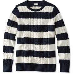 L.L.Bean Double L Mixed Cable Sweater, Crewneck Stripe ($50) ❤ liked on Polyvore featuring tops, sweaters, cable knit sweater, striped sweater, cable sweater, reversible jersey and long cable knit sweater