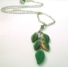 Leaf drop necklace. Emerald green necklace. by ArtfulTrinkets1, $30.00