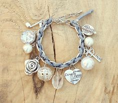 Silver Bracelet, Pearls Charms, Blue Suede Cord - Button, Heart, Key, Music Note, White Pearls - Boho Chic Bracelet, Romantic - For Her