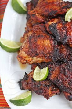Smoked Grilled Peruvian Chicken - this chicken is bathed in a citrusy marinade and then smoked on the grill - incredibly delicious ~ Try about 7 or 8 drops of stevia in the marinade instead of sugar.